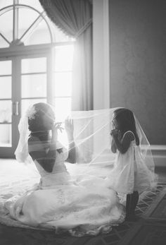 mother, bridal photography, daughter, wedding photos, the bride, son, baby girls, veil, flower girls