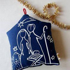 blueprint / JESLIČKY - polštářek Doll Toys, My Works, Drawstring Backpack, Pillows, Xmas, Cushions, Pillow Forms, Cushion, Scatter Cushions