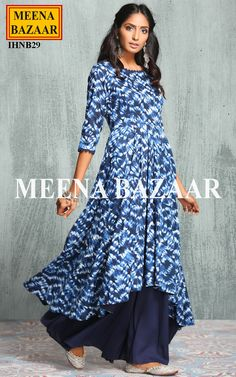 Blue Cotton Anarkali Suit @ MeenaBazaar