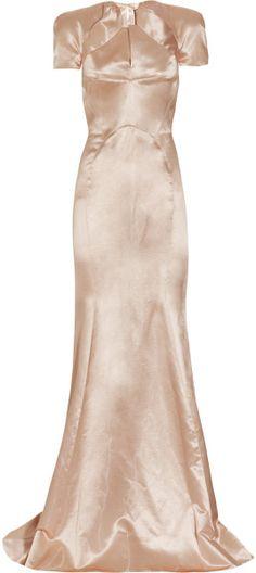Zac Posen Pink Pleated Satin Gown