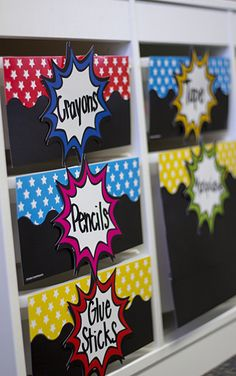 Superhero Bursts Accents - Use this decorative artwork to dress up classroom walls and doors, label bins and desks, or accent bulletin boards. Superhero School Theme, Superhero Classroom Decorations, School Themes, Classroom Themes, Superhero Bulletin Boards, School Ideas, Classroom Walls, Autism Classroom, Classroom Design