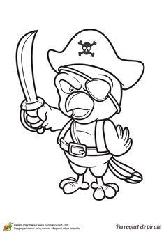 L'image d'un méchant oiseau pirate qui brave son épée, à colorier.