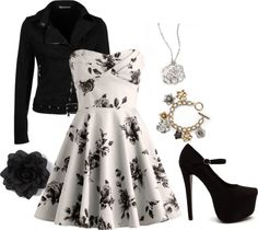 """Black and White Dress"" by gabriellhill on Polyvore"
