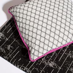 Artist Colab fabric by Kevin Zucker with pillow in BzzBzz.