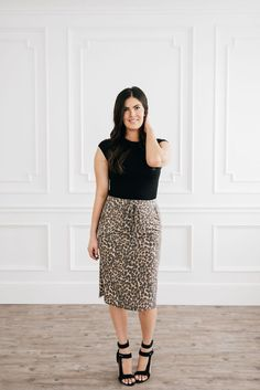Leopard knee length skirt with an elastic drawstring waist & front pockets. Leopard Skirt, Drawstring Waist, Best Sellers, Humbleness, Midi Skirt, Feminine, Black And White, My Style, Lace