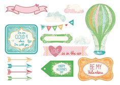 Hot air balloons free digital sentiments and toppers