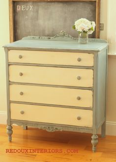 Two Tone Dresser in custom CeCe Caldwell's Blue and Grey Paint Furniture, Furniture Projects, Furniture Makeover, Home Projects, Bedroom Furniture, Furniture Refinishing, Two Tone Dresser, Grey Dresser, Do It Yourself Furniture