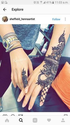 Mehndi is something that every girl want. Arabic mehndi design is another beautiful mehndi design. We will show Arabic Mehndi Designs. Henna Tattoo Hand, Henna Tattoos, Tatuajes Tattoos, Henna Body Art, Henna Tattoo Designs, Henna Art, Henna Designs Wrist, Wrist Henna, Side Hand Tattoos
