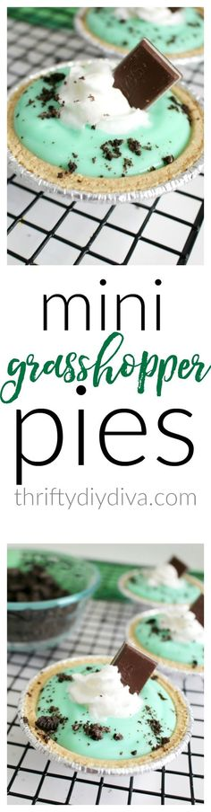 Just how cute are these Mini Grasshopper Pies! They are perfect for St. Patrick's Day or anytime you're craving chocolate and peppermint. Add this to your Saint Patricks Day and green recipes list!