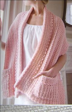 Stricken Crochet Lacy Readers Wrap found in the Think Pink book from Annie's Attic, Gilet Crochet, Knit Or Crochet, Crochet Scarves, Crochet Crafts, Crochet Clothes, Crochet Stitches, Diy Crafts, Shawl Patterns, Knitting Patterns