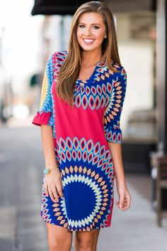 055cb9d6ccb Alvaq Women Casual Print Knee Length A-Line T Shirt Dress Color Craze Dress  Also friendly for maternity half long sleeve t shirt dress Material has  generous ...