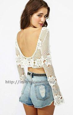 Summer openwork crochet blouse | The thread