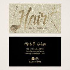 Hair Stylist Elegant Gold Typography Beauty Salon Business Card