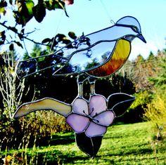 Bird Robin Stained Glass Suncatcher by GothicGlassStudio on Etsy, $55.00