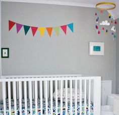 Colorful Yellow and Gray Baby Nursery Design: At first glance, you might think, Ah, a yellow baby nursery.  At second glance, Ahhh, A GRAY and yellow nursery color scheme. Then, if you really, really