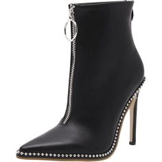 Rivets Pointed Toe Stiletto Heel Boots ($45) ❤ liked on Polyvore featuring shoes, boots, zaful, black stiletto shoes, black shoes, pointed toe stilettos, high heel stilettos and stiletto shoes