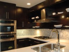 Kitchen Backsplash Dark Wood Cabinets