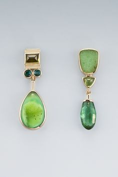 EARRINGS - 18KT, PERIDOT, TOURMALINE, DRUSY