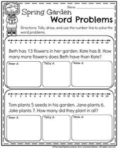 FREE First Grade Word Problems for Spring. - Addition and Subtraction.