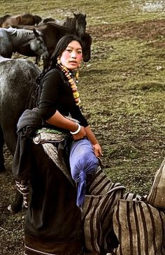 While riding across the grasslands of Gansu Province, we stopped at this girl's tent for the night. Tibet, We Are The World, People Around The World, Traditional Fashion, Traditional Art, Life Is Beautiful, Beautiful People, Girls Tent, Tribal People