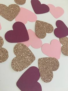 Pink Plum and Rose gold Heart Confetti Pink Party Decorations, Wedding Shower Decorations, Engagement Decorations, Heart Decorations, Gold Bridal Showers, Gold Baby Showers, Plum Wedding, Pink Birthday, 21st Birthday