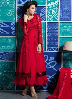 Glorious Red And Maroon Resham Work Faux Georgette Designer Anarkali Suit, Product Code :7321, shop now http://www.sareesaga.com/glorious-red-and-maroon-resham-work-faux-georgette-designer-anarkali-suit-7321  Email :support@sareesaga.com What's App or Call : +91-9825192886