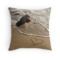 Beach Theme Pillow Cover SUMMER LOVE Heart in the by myBeachWishes