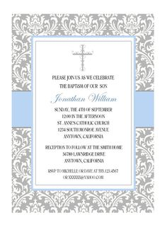 Hey, I found this really awesome Etsy listing at https://www.etsy.com/listing/206485453/elegant-baptism-invitation-for-boy