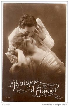 "Carte Postale Ancienne ""Amour. Baiser"" 1919 France."