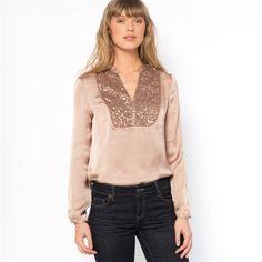 Wijde blouse met lange mouwen en zecchino's