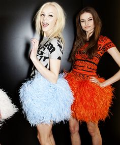 i'm dying to wear one these feathery pom-pom skirts! {bachelorette party attire perhaps?}