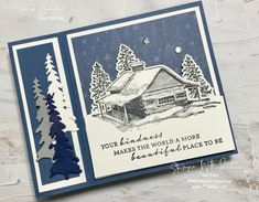 Stamped Christmas Cards, Beautiful Christmas Cards, Stampin Up Christmas, Xmas Cards, Holiday Cards, Card Making Templates, Cabin Christmas, Christmas Catalogs, Scrapbook Cards