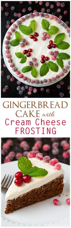 Gingerbread Cake with Cream Cheese Frosting - this cake is perfectly moist and so flavorful. It is the perfect Christmas dessert!