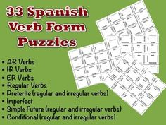 33 Spanish Verb Form Puzzles.  Over 50% Discount!