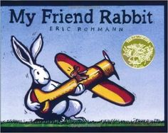 My Friend Rabbit: Eric Rohmann: When Mouse lets his best friend, Rabbit, play with his brand-new airplane, trouble isn't far behind. From Caldecott Honor award winner Eric Rohmann comes a brand-new picture book about friends and toys and trouble, illustrated in robust, expressive prints.  My Friend Rabbit is the winner of the 2003 Caldecott Medal. 9780312367527: Amazon.com: Books