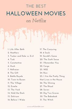 Countdown to Halloween on Netflix, plus top 15 horror movies on Hulu - The Artful Ambler . movies marathon Countdown to Halloween on Netflix — the artful ambler Scary Movie List, Netflix Movie List, Netflix Movies To Watch, Movie To Watch List, Good Movies To Watch, Netflix Series, Series Movies, Kid Movies, Movie Posters