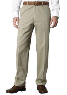 Savane Khaki Straight-Fit Flat-Front Performance Comfort Waist Chino Pants