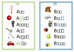 Einfache Schreibkarten zu jeweils einem Anfangsbuchstaben (ink. Phoneme). Insgesamt sind es 25 Schreibkarten, da sich X und Y eine Karte tei...