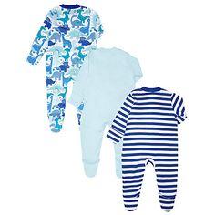 Buy John Lewis Baby Dinosaur Sleepsuits, Pack of 3, Blue Online at johnlewis.com