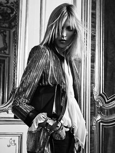 Anja Rubik by Hedi Slimane for Saint Laurent Ad Campaign _
