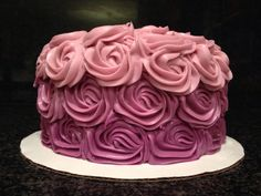 Super moist chocolate cake with purple ombré cream cheese frosting.