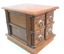 Antique Oak Treadle Sewing Machine Cabinet 4 Drawers & Frame Beautiful Detail