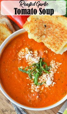 Roasted Tomato Garlic Soup is smooth and creamy with incredible flavors. Served with a warm grilled cheese, makes this the perfect comfort food. via soup Roasted Tomato Garlic Soup Recipe - Butter Your Biscuit Roasted Tomato Basil Soup, Roasted Tomatoes, Roasted Garlic, Fresh Garlic, Healthy Soup, Healthy Recipes, Keto Recipes, Tomato Bisque Soup, Tapas