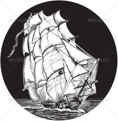 Old Sail Ship  #GraphicRiver         Emblem of old sail ship. Black and white style.