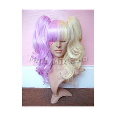 Lavender Blonde split mintymix wig ($50) ❤ liked on Polyvore featuring beauty products, haircare, hair styling tools, wigs, hair, lolita, accessories and mintymix