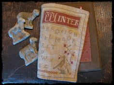 Primitive Betty Winter Journal Cover; November Prim Sister project @ Country Sampler