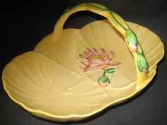"Carlton Ware FABULOUS Large 10.5"" Basket - Water Lilly - c.1939 - Carltonware 