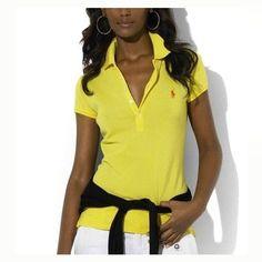 1ff5690f3cd8 Ralph Lauren Womens Durable Cotton Short-sleeved Polo light Yellow Polo  Femme