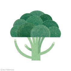 How to cook on Behance, Ryo Takemasa, Broccoli Vegetable Illustration, Simple Illustration, Plant Illustration, Botanical Illustration, Graphic Design Illustration, Ryo Takemasa, Behance, Affinity Designer, Guache
