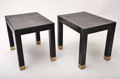 Pair of Karl Springer Embossed Lizard Leather Tables | From a unique collection of antique and modern side tables at http://www.1stdibs.com/furniture/tables/side-tables/